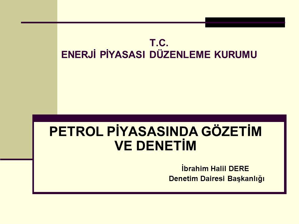 PETROL PİYASASINDA GÖZETİM VE DENETİM 1.5015 sayılı Petrol Piyasası Kanunu 2.