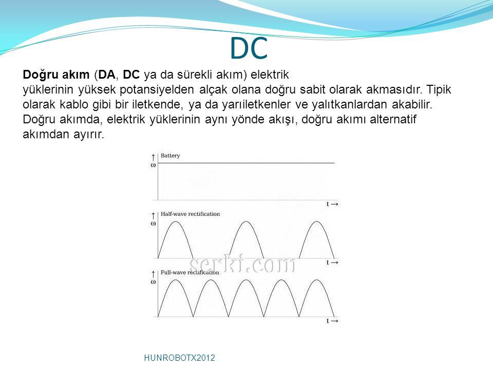 DC Doğru akım (DA, DC ya da sürekli akım) elektrik yüklerinin yüksek potansiyelden alçak olana doğru sabit olarak akmasıdır. Tipik olarak kablo gibi b
