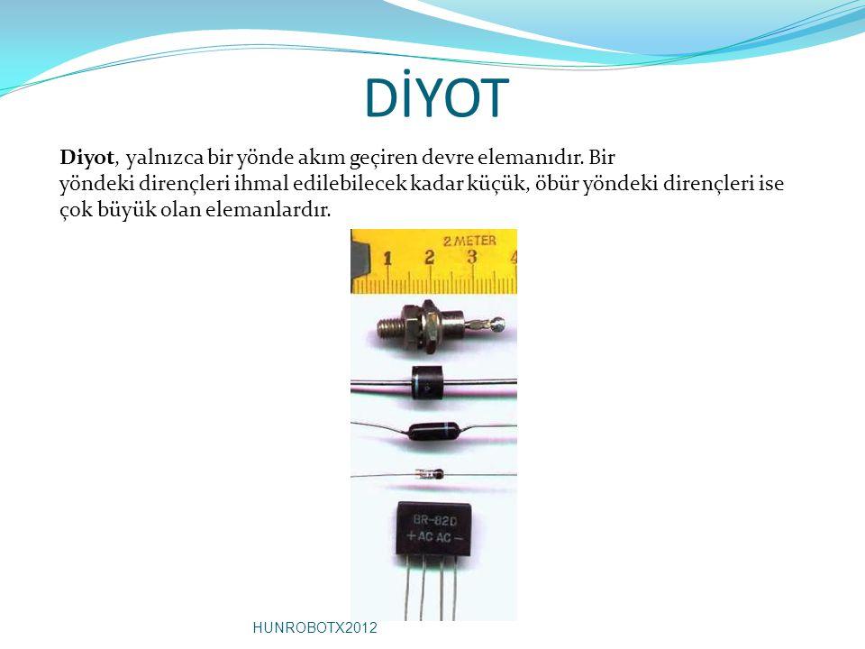 DİYOT Diyot, yalnızca bir yönde akım geçiren devre elemanıdır. Bir yöndeki dirençleri ihmal edilebilecek kadar küçük, öbür yöndeki dirençleri ise çok