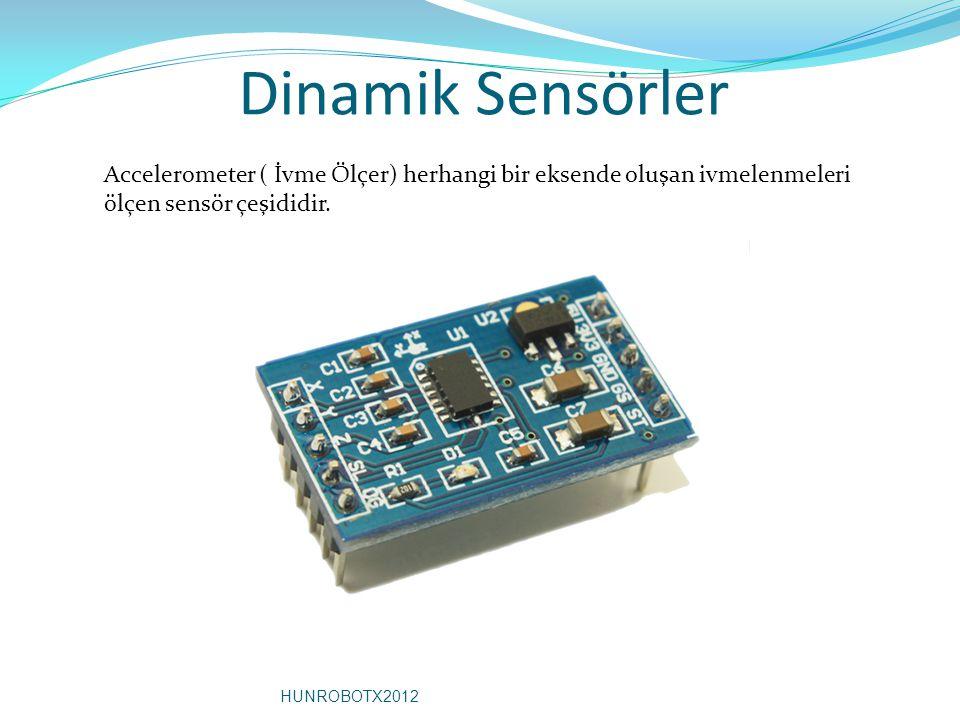 Dinamik Sensörler Accelerometer ( İvme Ölçer) herhangi bir eksende oluşan ivmelenmeleri ölçen sensör çeşididir. HUNROBOTX2012