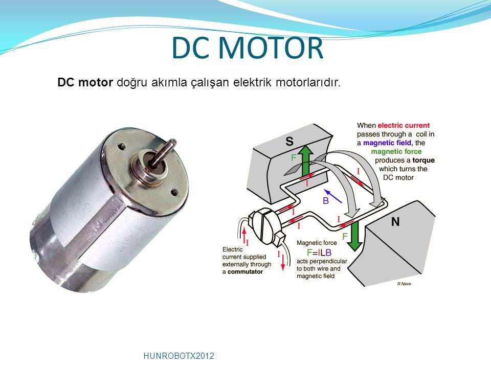 DC MOTOR DC motor doğru akımla çalışan elektrik motorlarıdır. HUNROBOTX2012