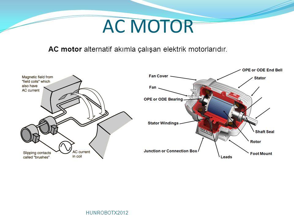 AC MOTOR AC motor alternatif akımla çalışan elektrik motorlarıdır. HUNROBOTX2012