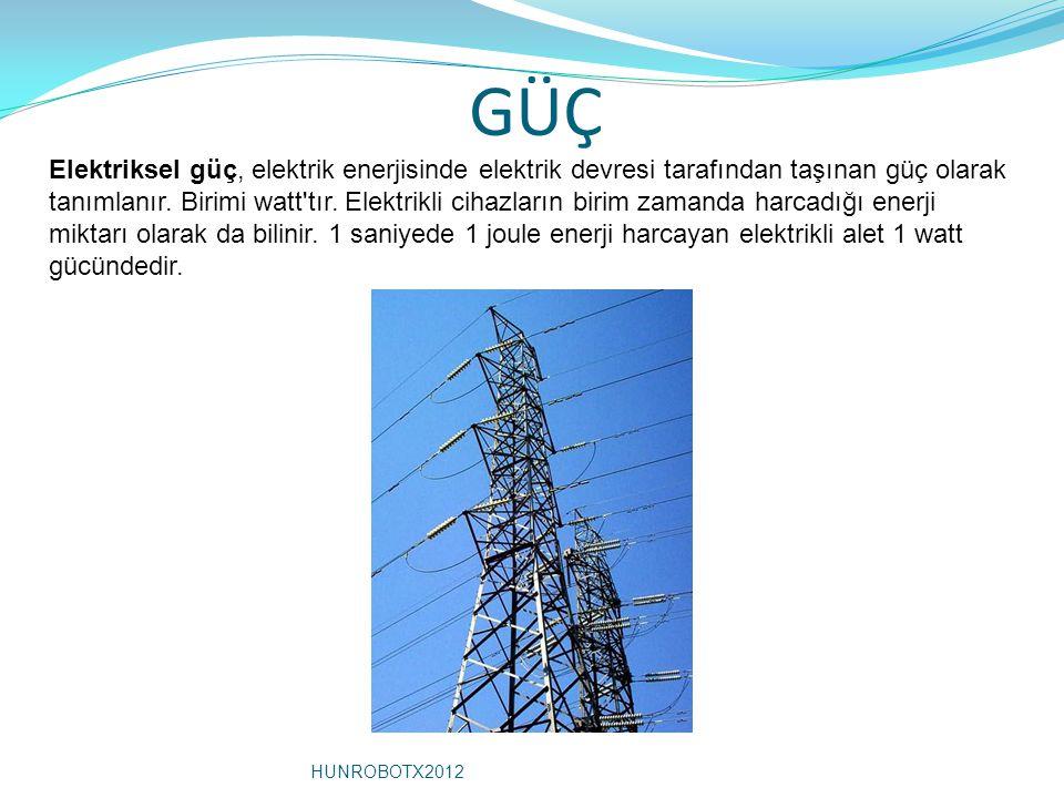 GÜÇ Elektriksel güç, elektrik enerjisinde elektrik devresi tarafından taşınan güç olarak tanımlanır. Birimi watt'tır. Elektrikli cihazların birim zama