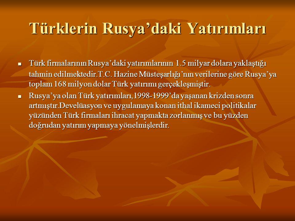 Türklerin Rusya'daki Yatırımları  Türk firmalarının Rusya'daki yatırımlarının 1.5 milyar dolara yaklaştığı tahmin edilmektedir.T.C. Hazine Müsteşarlı