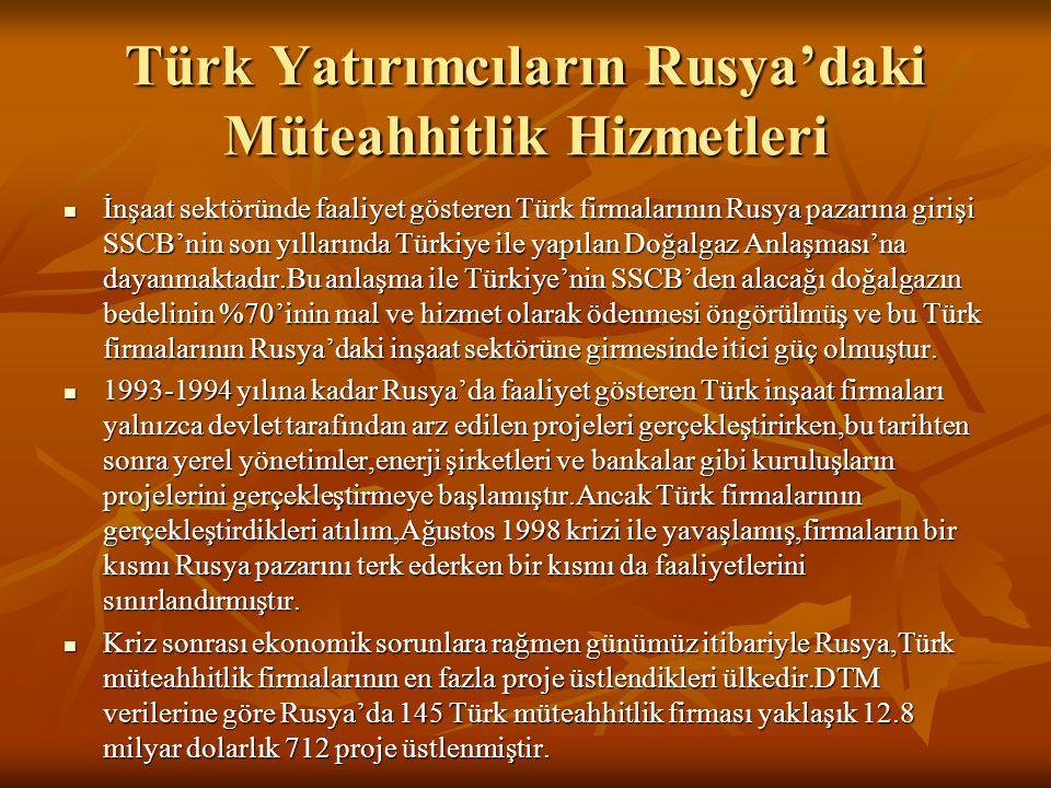 Türk Yatırımcıların Rusya'daki Müteahhitlik Hizmetleri  İnşaat sektöründe faaliyet gösteren Türk firmalarının Rusya pazarına girişi SSCB'nin son yıll
