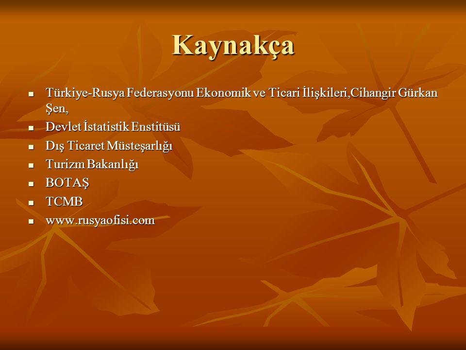 Kaynakça  Türkiye-Rusya Federasyonu Ekonomik ve Ticari İlişkileri,Cihangir Gürkan Şen,  Devlet İstatistik Enstitüsü  Dış Ticaret Müsteşarlığı  Tur