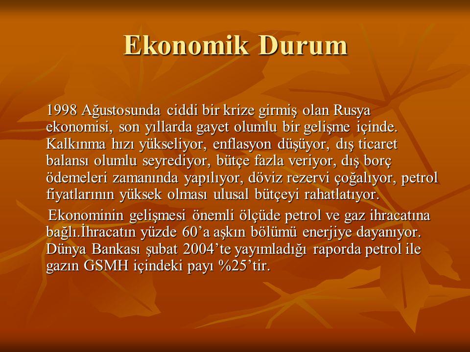 Ekonomik Durum 1998 Ağustosunda ciddi bir krize girmiş olan Rusya ekonomisi, son yıllarda gayet olumlu bir gelişme içinde. Kalkınma hızı yükseliyor, e