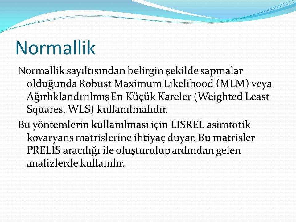 Normallik Normallik sayıltısından belirgin şekilde sapmalar olduğunda Robust Maximum Likelihood (MLM) veya Ağırlıklandırılmış En Küçük Kareler (Weight