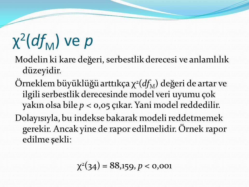 χ 2 (df M ) ve p Modelin ki kare değeri, serbestlik derecesi ve anlamlılık düzeyidir. Örneklem büyüklüğü arttıkça χ 2 (df M ) değeri de artar ve ilgil