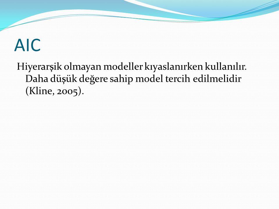 AIC Hiyerarşik olmayan modeller kıyaslanırken kullanılır. Daha düşük değere sahip model tercih edilmelidir (Kline, 2005).