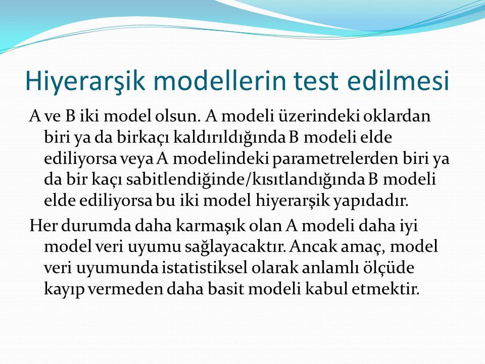 Hiyerarşik modellerin test edilmesi A ve B iki model olsun. A modeli üzerindeki oklardan biri ya da birkaçı kaldırıldığında B modeli elde ediliyorsa v