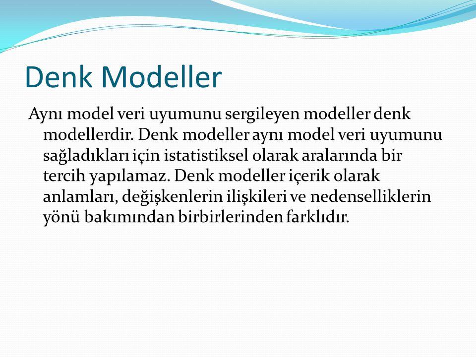 Denk Modeller Aynı model veri uyumunu sergileyen modeller denk modellerdir. Denk modeller aynı model veri uyumunu sağladıkları için istatistiksel olar