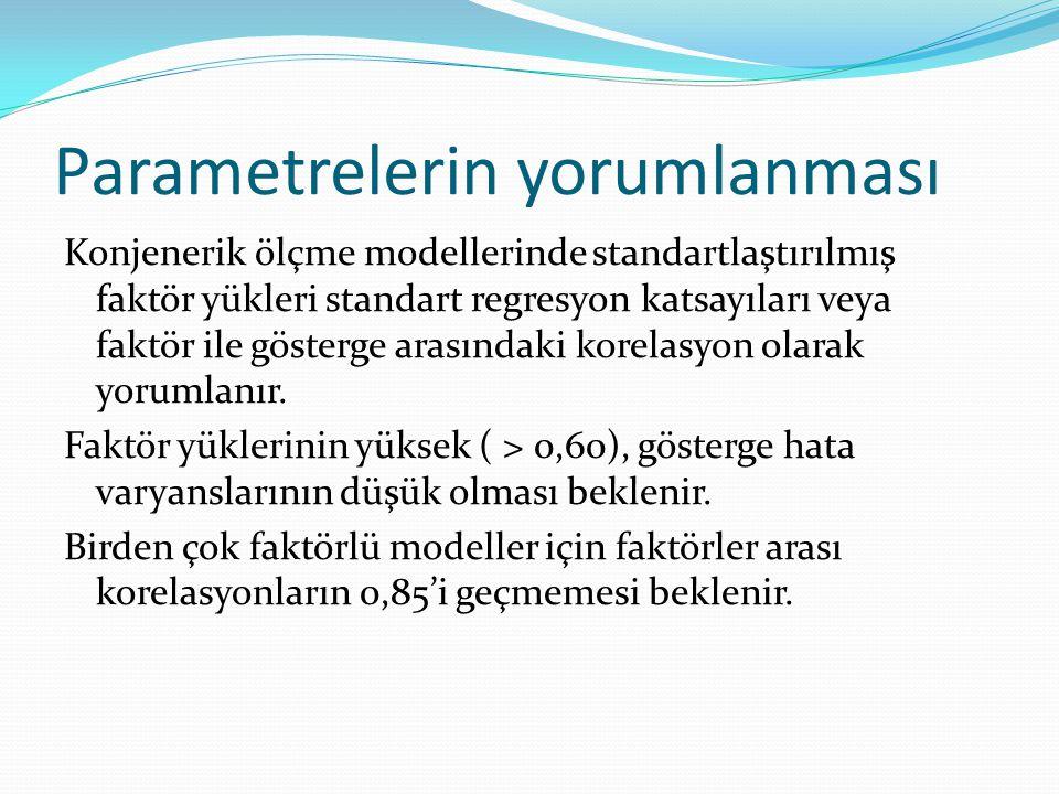 Parametrelerin yorumlanması Konjenerik ölçme modellerinde standartlaştırılmış faktör yükleri standart regresyon katsayıları veya faktör ile gösterge a