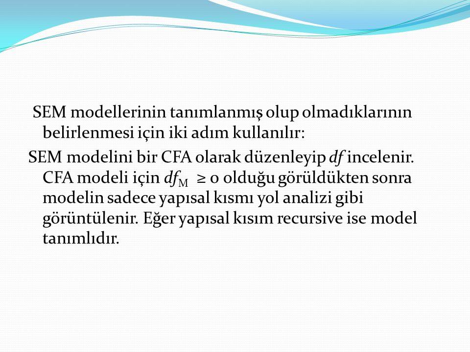 SEM modellerinin tanımlanmış olup olmadıklarının belirlenmesi için iki adım kullanılır: SEM modelini bir CFA olarak düzenleyip df incelenir. CFA model