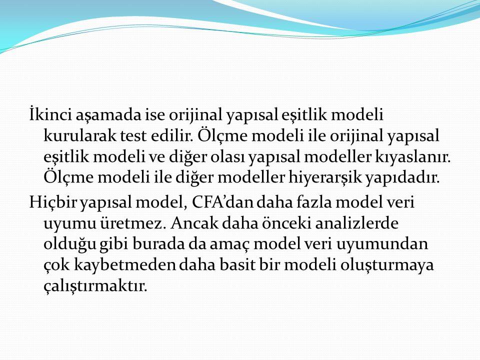 İkinci aşamada ise orijinal yapısal eşitlik modeli kurularak test edilir. Ölçme modeli ile orijinal yapısal eşitlik modeli ve diğer olası yapısal mode