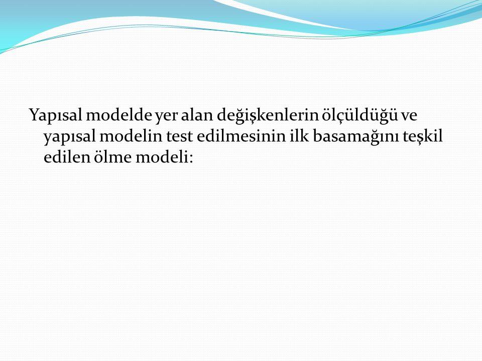 Yapısal modelde yer alan değişkenlerin ölçüldüğü ve yapısal modelin test edilmesinin ilk basamağını teşkil edilen ölme modeli: