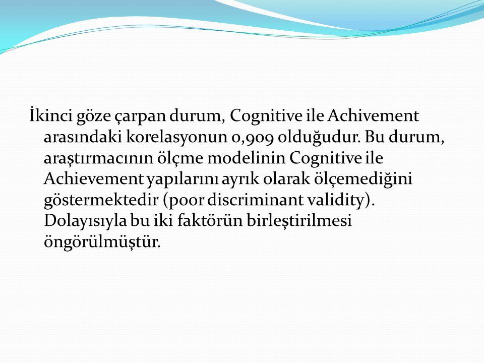 İkinci göze çarpan durum, Cognitive ile Achivement arasındaki korelasyonun 0,909 olduğudur. Bu durum, araştırmacının ölçme modelinin Cognitive ile Ach