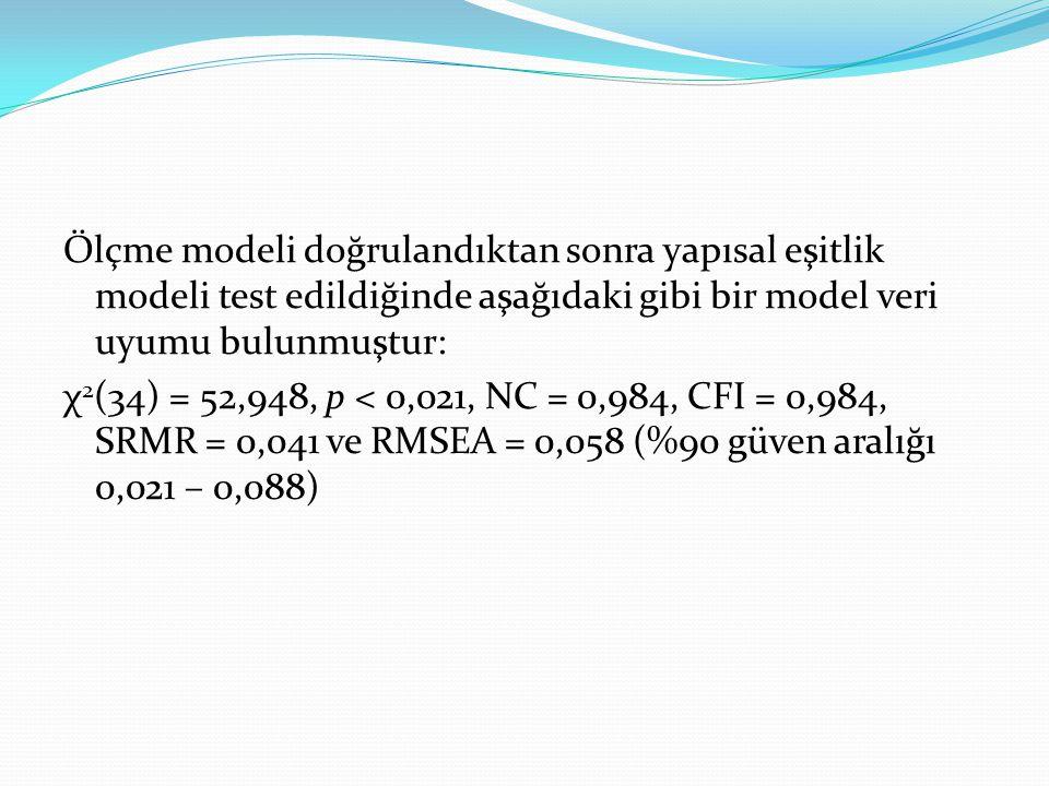 Ölçme modeli doğrulandıktan sonra yapısal eşitlik modeli test edildiğinde aşağıdaki gibi bir model veri uyumu bulunmuştur: χ 2 (34) = 52,948, p < 0,02