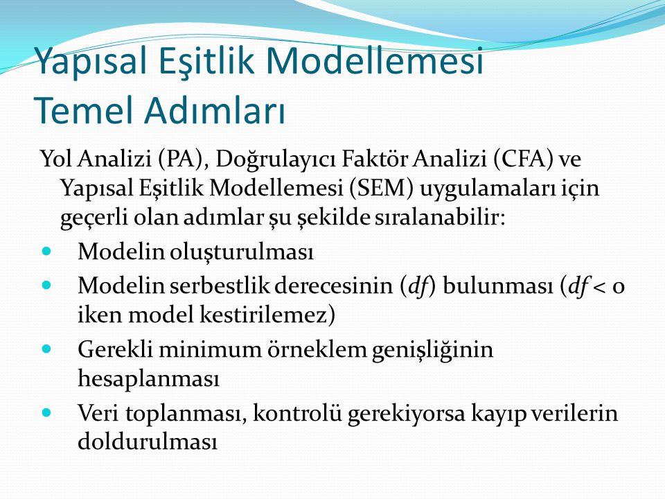Yapısal Eşitlik Modellemesi Temel Adımları Yol Analizi (PA), Doğrulayıcı Faktör Analizi (CFA) ve Yapısal Eşitlik Modellemesi (SEM) uygulamaları için g