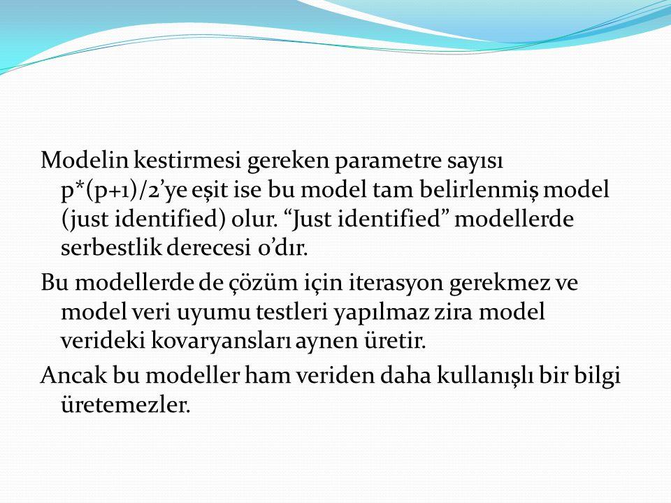 """Modelin kestirmesi gereken parametre sayısı p*(p+1)/2'ye eşit ise bu model tam belirlenmiş model (just identified) olur. """"Just identified"""" modellerde"""