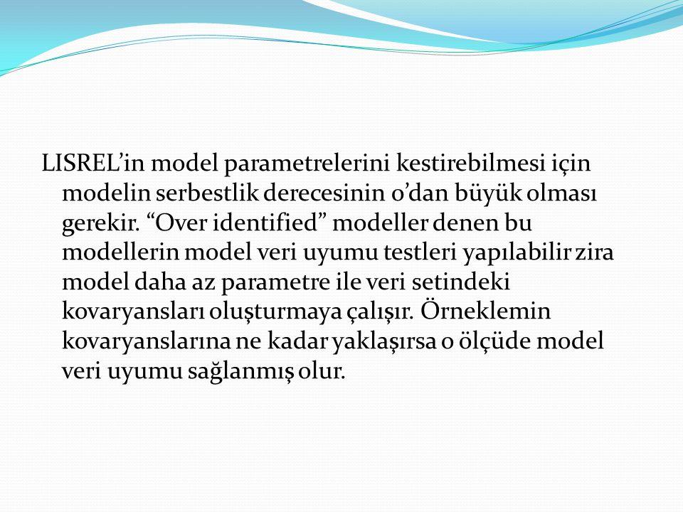 """LISREL'in model parametrelerini kestirebilmesi için modelin serbestlik derecesinin 0'dan büyük olması gerekir. """"Over identified"""" modeller denen bu mod"""