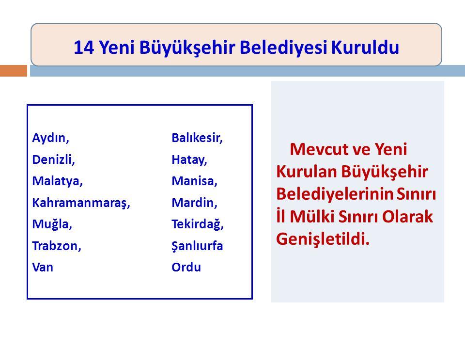 Aydın, Balıkesir, Denizli, Hatay, Malatya, Manisa, Kahramanmaraş,Mardin, Muğla, Tekirdağ, Trabzon, Şanlıurfa VanOrdu Mevcut ve Yeni Kurulan Büyükşehir