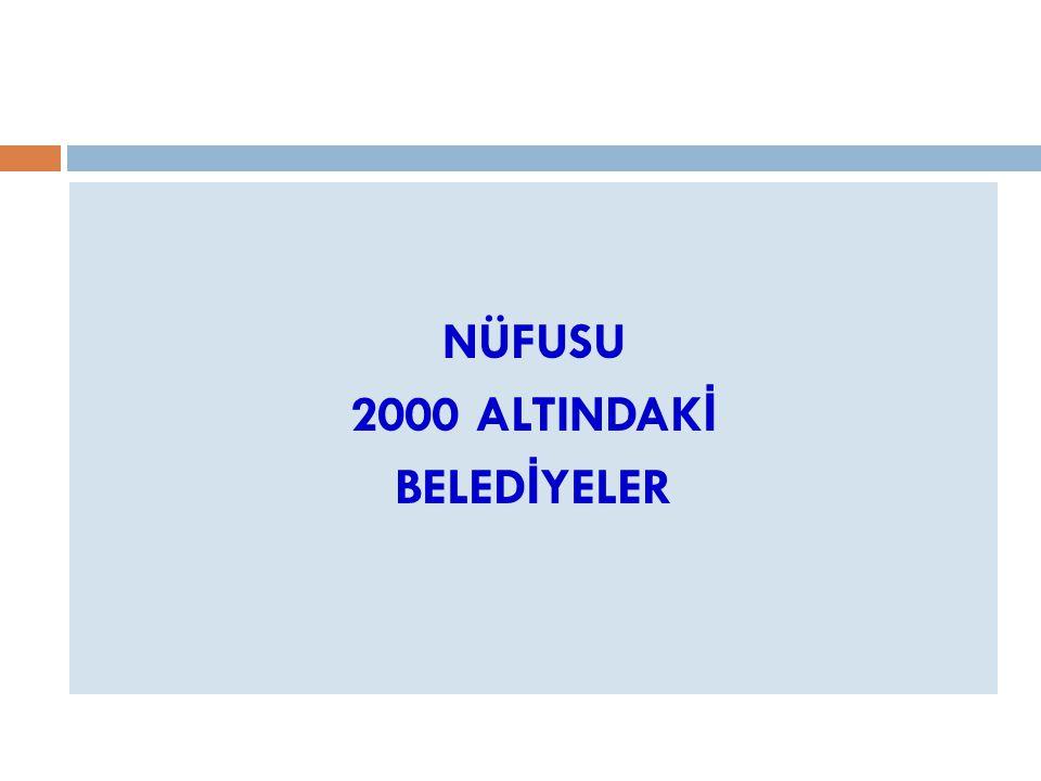 NÜFUSU 2000 ALTINDAK İ BELED İ YELER