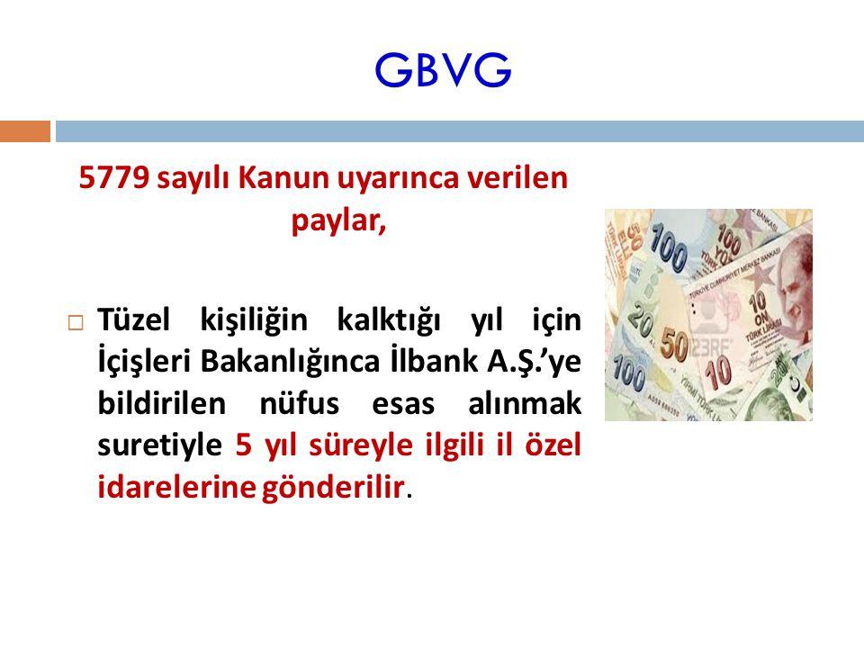 GBVG 5779 sayılı Kanun uyarınca verilen paylar,  Tüzel kişiliğin kalktığı yıl için İçişleri Bakanlığınca İlbank A.Ş.'ye bildirilen nüfus esas alınmak