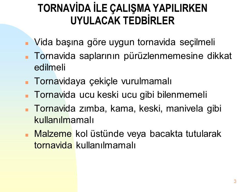3 TORNAVİDA İLE ÇALIŞMA YAPILIRKEN UYULACAK TEDBİRLER n Vida başına göre uygun tornavida seçilmeli n Tornavida saplarının pürüzlenmemesine dikkat edil