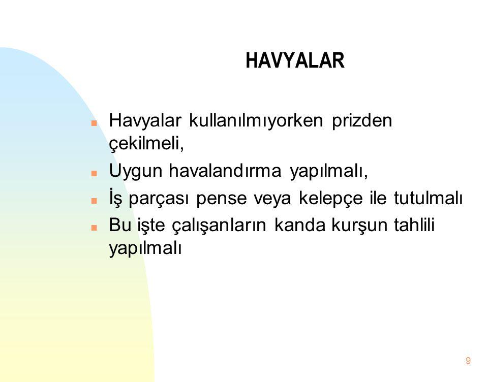 9 HAVYALAR n Havyalar kullanılmıyorken prizden çekilmeli, n Uygun havalandırma yapılmalı, n İş parçası pense veya kelepçe ile tutulmalı n Bu işte çalı
