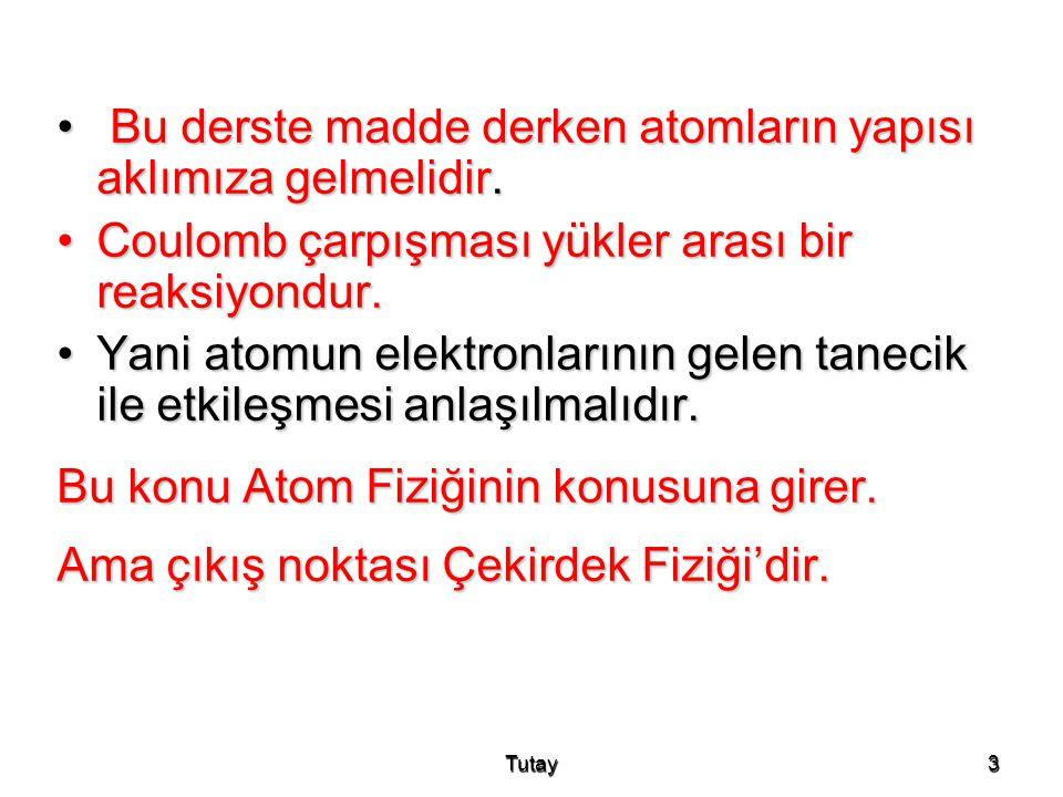 Tutay24 •Erişim uzaklığı (R) : Madde içerisinde enerji kaybı önemlidir.