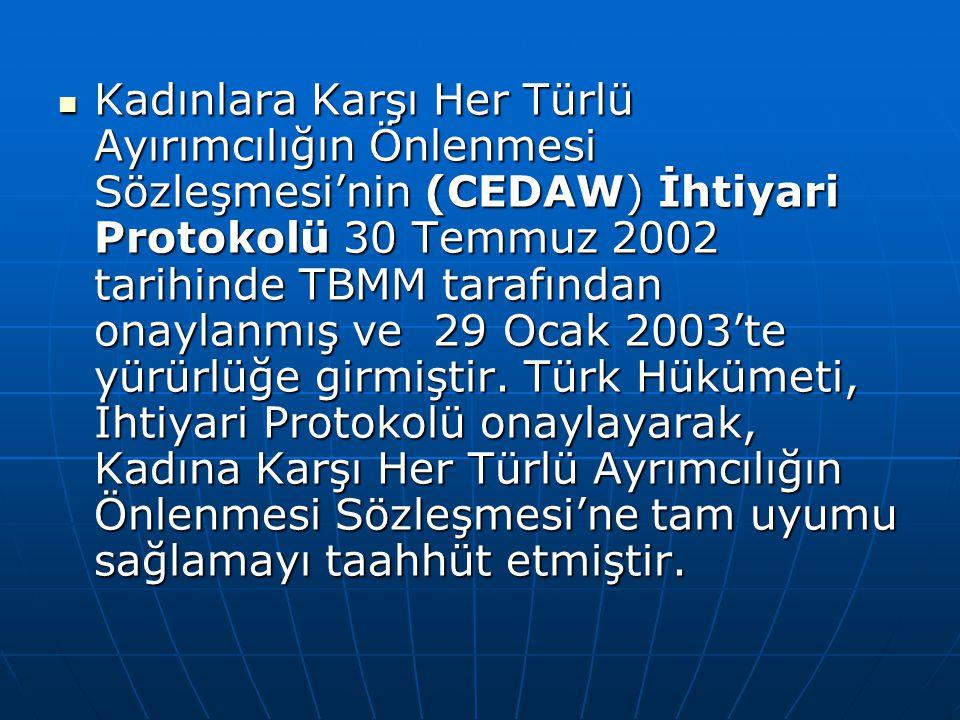  Kadınlara Karşı Her Türlü Ayırımcılığın Önlenmesi Sözleşmesi'nin (CEDAW) İhtiyari Protokolü 30 Temmuz 2002 tarihinde TBMM tarafından onaylanmış ve 2