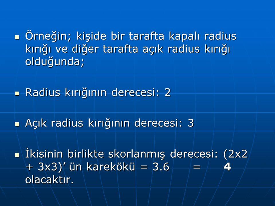  Örneğin; kişide bir tarafta kapalı radius kırığı ve diğer tarafta açık radius kırığı olduğunda;  Radius kırığının derecesi: 2  Açık radius kırığın