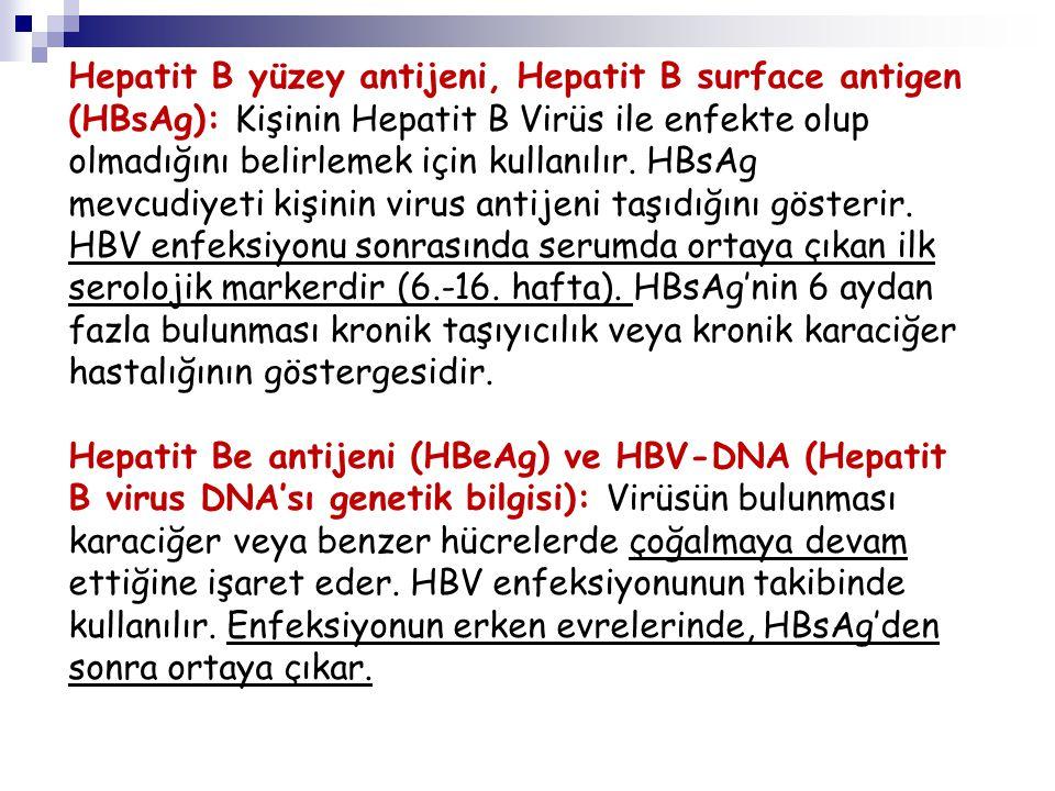 Hepatit B yüzey antijeni, Hepatit B surface antigen (HBsAg): Kişinin Hepatit B Virüs ile enfekte olup olmadığını belirlemek için kullanılır. HBsAg mev