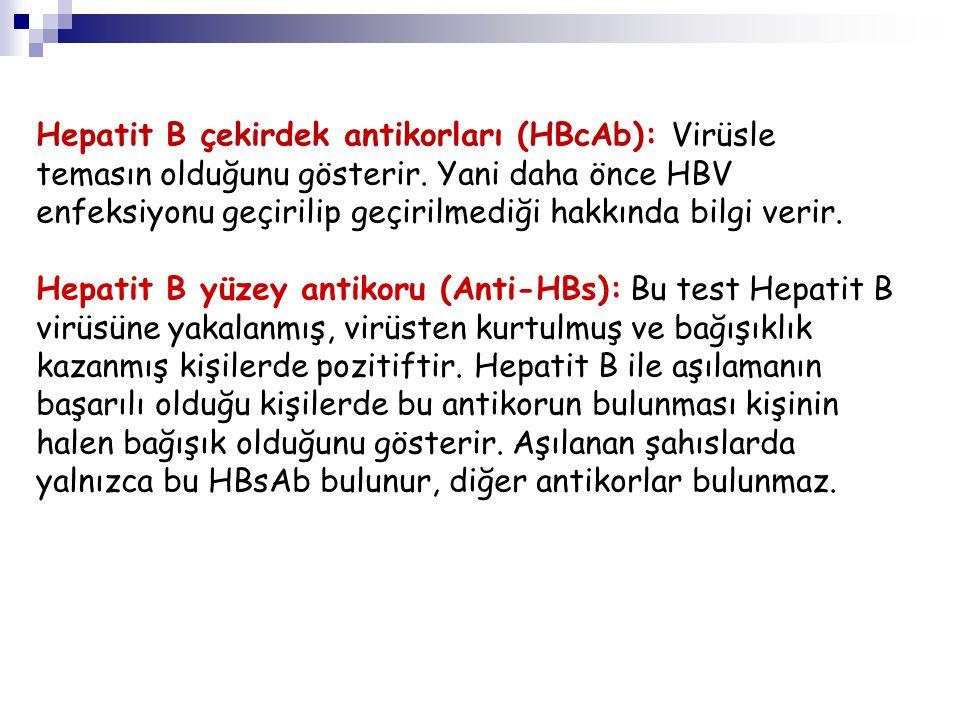 Hepatit B çekirdek antikorları (HBcAb): Virüsle temasın olduğunu gösterir. Yani daha önce HBV enfeksiyonu geçirilip geçirilmediği hakkında bilgi verir