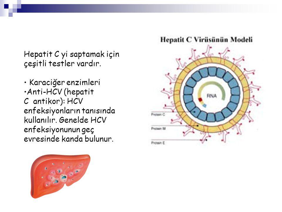 Hepatit C yi saptamak için çeşitli testler vardır. • Karaciğer enzimleri •Anti-HCV (hepatit C antikor): HCV enfeksiyonların tanısında kullanılır. Gene