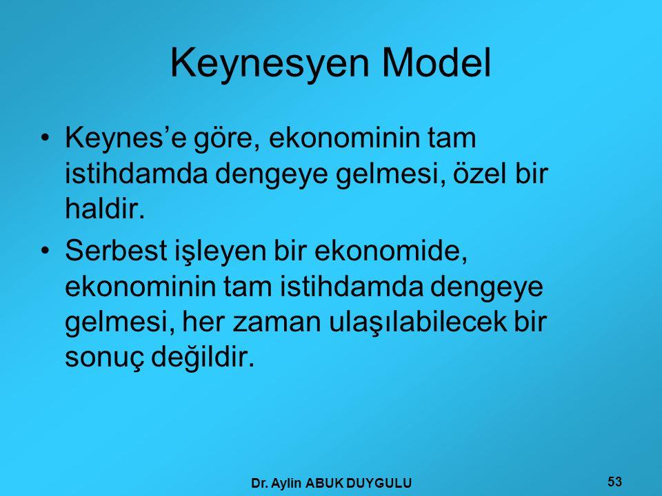 Dr. Aylin ABUK DUYGULU 53 Keynesyen Model •Keynes'e göre, ekonominin tam istihdamda dengeye gelmesi, özel bir haldir. •Serbest işleyen bir ekonomide,