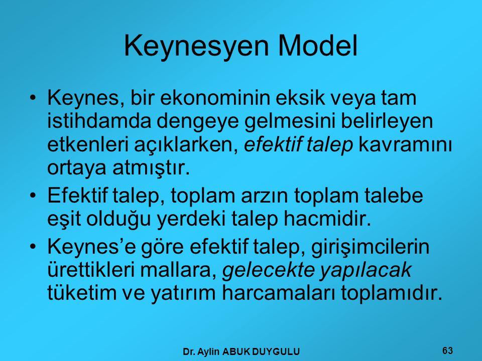 Dr. Aylin ABUK DUYGULU 63 Keynesyen Model •Keynes, bir ekonominin eksik veya tam istihdamda dengeye gelmesini belirleyen etkenleri açıklarken, efektif