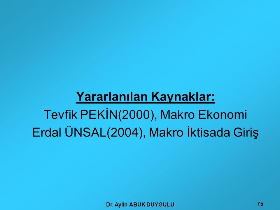 Dr. Aylin ABUK DUYGULU 75 Yararlanılan Kaynaklar: Tevfik PEKİN(2000), Makro Ekonomi Erdal ÜNSAL(2004), Makro İktisada Giriş