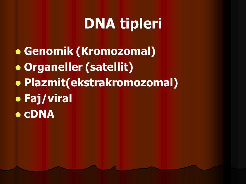 DNA tipleri   Genomik (Kromozomal)   Organeller (satellit)   Plazmit(ekstrakromozomal)   Faj/viral   cDNA