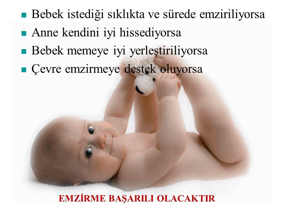 Yeterli emzirme için; Doğumdan sonra ½-1 saatte emzirmeye başlamalı 0-6 ay arasında sadece anne sütü verilmeli Anne sütü ile beslenme 2 yaş ve ötesine
