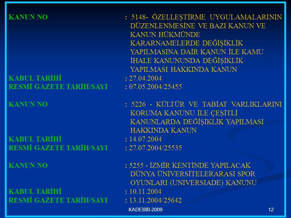 12KADEBİB-2009 KANUN NO : 5148- ÖZELLEŞTİRME UYGULAMALARININ DÜZENLENMESİNE VE BAZI KANUN VE KANUN HÜKMÜNDE KARARNAMELERDE DEĞİŞİKLİK YAPILMASINA DAİR