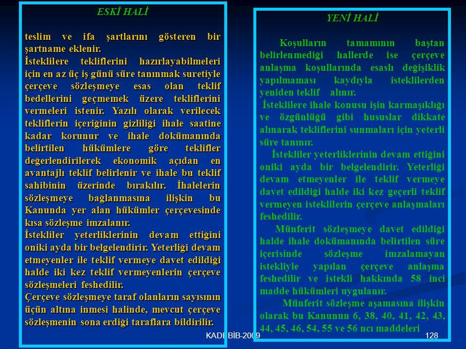 128KADEBİB-2009 ESKİ HALİ teslim ve ifa şartlarını gösteren bir şartname eklenir. İsteklilere tekliflerini hazırlayabilmeleri için en az üç iş günü sü