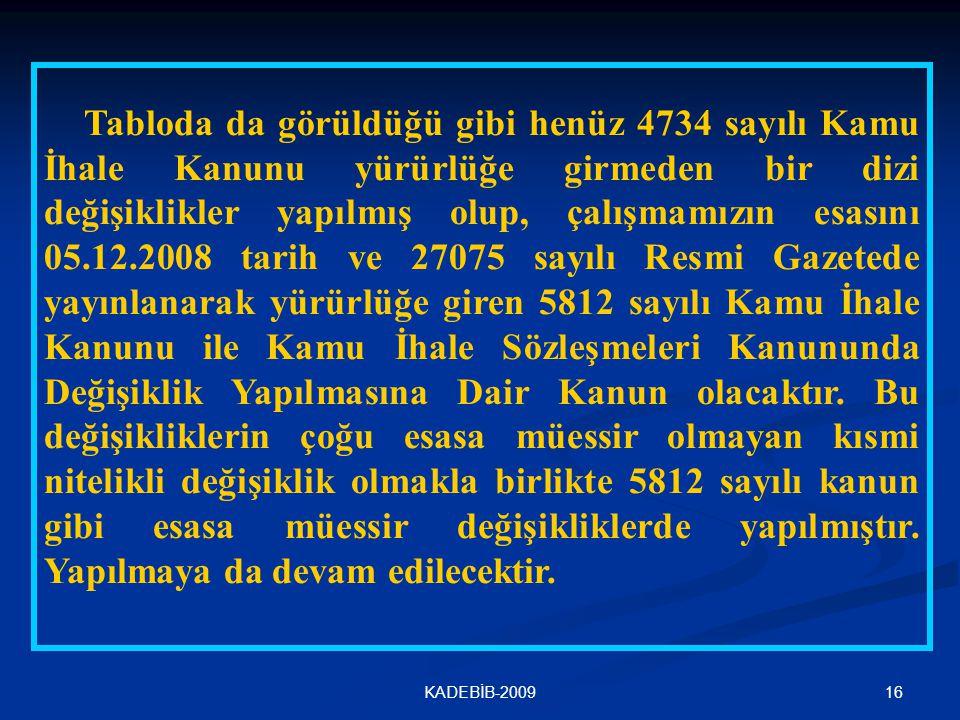 16KADEBİB-2009 Tabloda da görüldüğü gibi henüz 4734 sayılı Kamu İhale Kanunu yürürlüğe girmeden bir dizi değişiklikler yapılmış olup, çalışmamızın esa