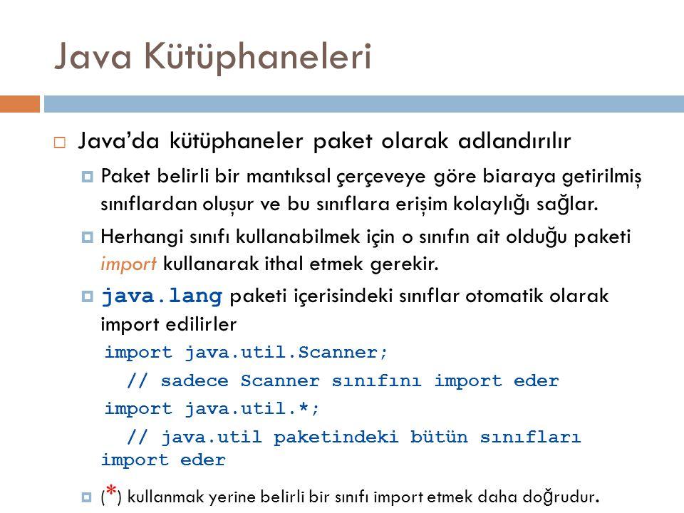Java Kütüphaneleri  Java'da kütüphaneler paket olarak adlandırılır  Paket belirli bir mantıksal çerçeveye göre biaraya getirilmiş sınıflardan oluşur ve bu sınıflara erişim kolaylı ğ ı sa ğ lar.