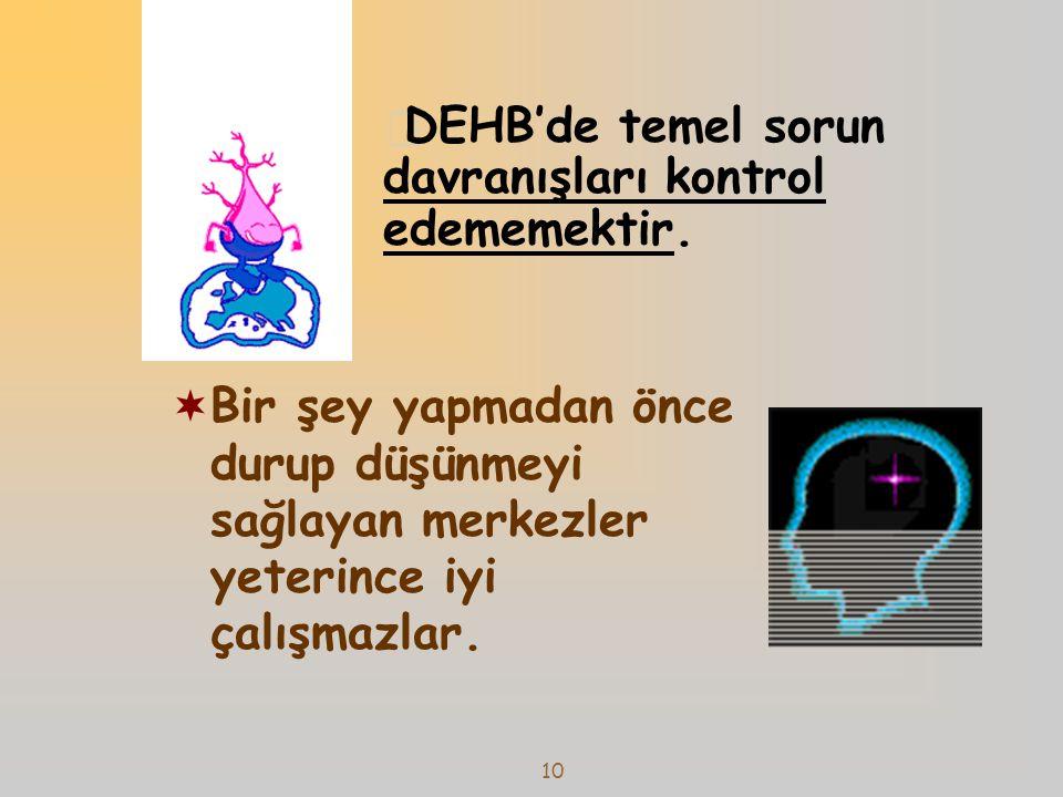 11 Caudat Nukleus Prefrontal korteks Serebellum Dopamin üreten sinir hücresi Dopamin reseptörü Sinaps Serebellar vermis Beyinde dikkat ve davranış kontrolünü sağlayan sistemde sorun vardır.
