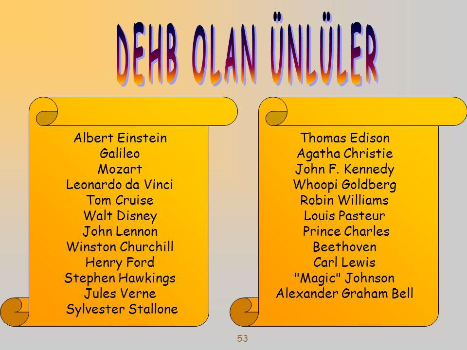 53 Albert Einstein Galileo Mozart Leonardo da Vinci Tom Cruise Walt Disney John Lennon Winston Churchill Henry Ford Stephen Hawkings Jules Verne Sylve