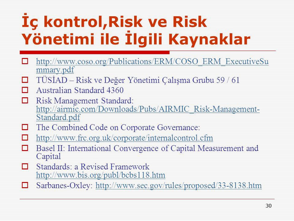 29  Risk yönetiminin şeffaf, koordineli, kamu önünde güvenilir ve etkili olması gerekmektedir.