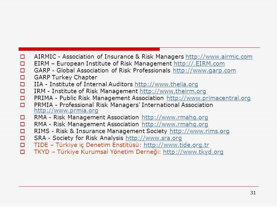 30 İç kontrol,Risk ve Risk Yönetimi ile İlgili Kaynaklar  http://www.coso.org/Publications/ERM/COSO_ERM_ExecutiveSu mmary.pdf http://www.coso.org/Publications/ERM/COSO_ERM_ExecutiveSu mmary.pdf  TÜSİAD – Risk ve Değer Yönetimi Çalışma Grubu 59 / 61  Australian Standard 4360  Risk Management Standard: http://airmic.com/Downloads/Pubs/AIRMIC_Risk-Management- Standard.pdf http://airmic.com/Downloads/Pubs/AIRMIC_Risk-Management- Standard.pdf  The Combined Code on Corporate Governance:  http://www.frc.org.uk/corporate/internalcontrol.cfm http://www.frc.org.uk/corporate/internalcontrol.cfm  Basel II: International Convergence of Capital Measurement and Capital  Standards: a Revised Framework http://www.bis.org/publ/bcbs118.htm http://www.bis.org/publ/bcbs118.htm  Sarbanes-Oxley: http://www.sec.gov/rules/proposed/33-8138.htmhttp://www.sec.gov/rules/proposed/33-8138.htm