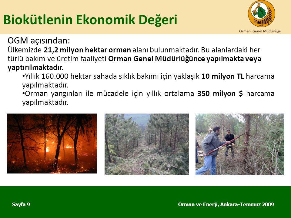 Biokütlenin Ekonomik Değeri Orman ve Enerji, Ankara-Temmuz 2009 Orman Genel Müdürlüğü Sayfa 9 OGM açısından: Ülkemizde 21,2 milyon hektar orman alanı